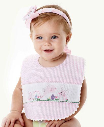 Mud Pie - Pink Smocked Bib - Easter Bunnies