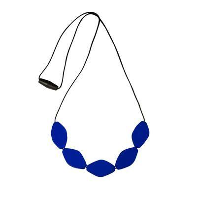 MummaBubba Jewellery - Chew Necklace - Large Tulip Beads - Brilliant Blue