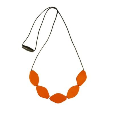 MummaBubba Jewellery - Chew Necklace - Large Tulip Beads - Orange