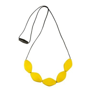 MummaBubba Jewellery - Teething Necklace - Large Tulip Beads - Yellow