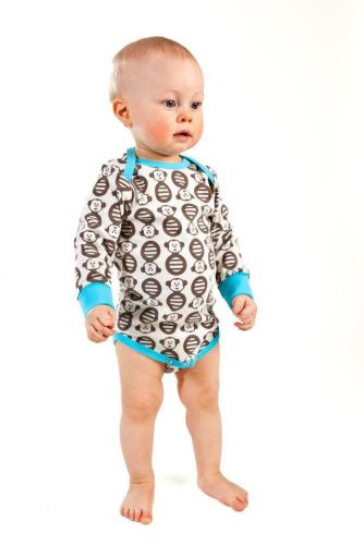 Nosh Organics - Funky Monkey Blue Onsie/Bodysuit Long Sleeve