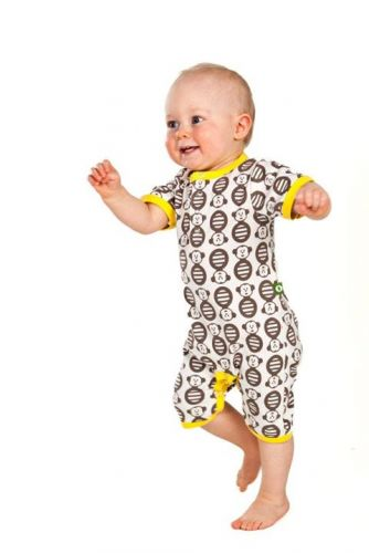 Nosh Organics - Monkey Romper Yellow - (only size 3-4 left)