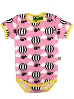 Nosh Organics - Balloon Pink Short Sleeve Onsie - 100% organic cotton