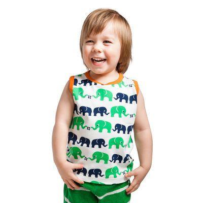 Nosh Organics - Elephants Green Sleeveless T-Shirt /Singlet (Size 9 months to 4 years)