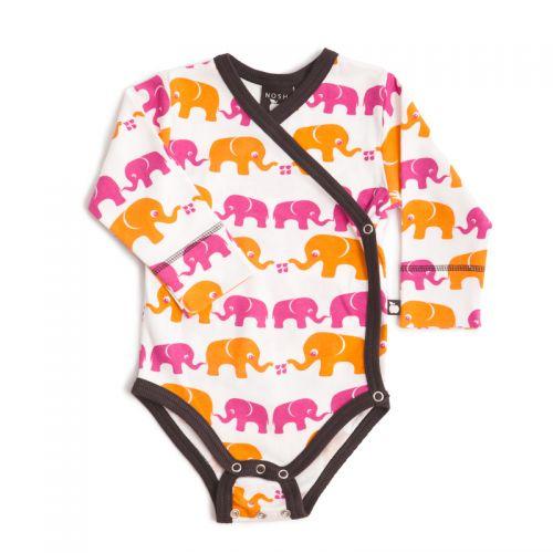 Nosh Organics - Elephants Pink Kimono L/Sleeve Onsie Bodysuit