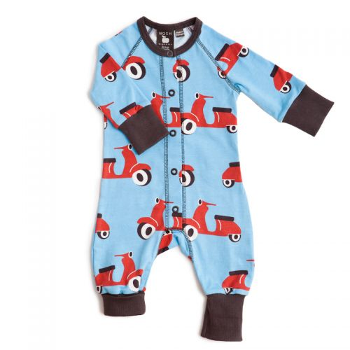 Nosh Organics - Scooter Blue Playsuit/Onsie - Organic Cotton