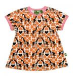 Nosh Organics - Giraffe Orange Short Sleeve Tunic Dress (Only size 7-8 left)