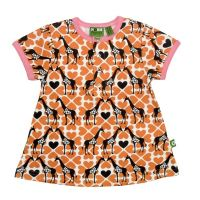 Nosh Organics - Giraffe Orange Short Sleeve Tunic Dress (Up to size 8)
