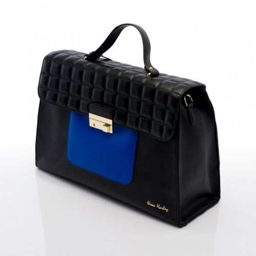 Nova Harley - Athens Nappy Bag - Black with Greek Blue Patch