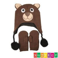 Buddy Bear Beanie/Hat and Mittens Set