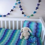 O.B. Designs Blue Ripple Crochet Baby Blanket