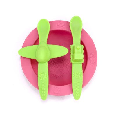 Oogaa Green and Green - Pink Meal Time Set