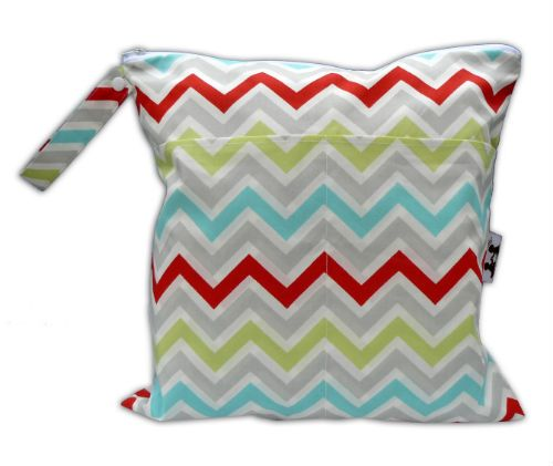 Pat a Cake Baby - Large Wet & Dry Bag or Nappy Bag with Pockets - Zoom Zoom Chevron