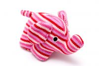 Knitted Elephant W/Rattle Pink