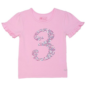 3 Year Old Birthday Pink Ruffled Tee