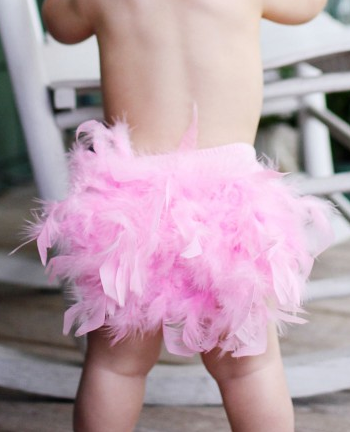 Ruffle Butts Pink Feather Bloomer - Nappy Cover