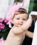 Ruffle Butts Pink Chiffon and Feather Headband