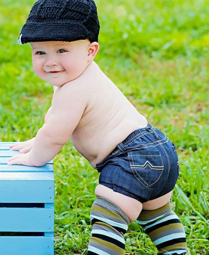 Rugged Butts Denim Bloomer Shorts/Nappy Cover 2 Pocket