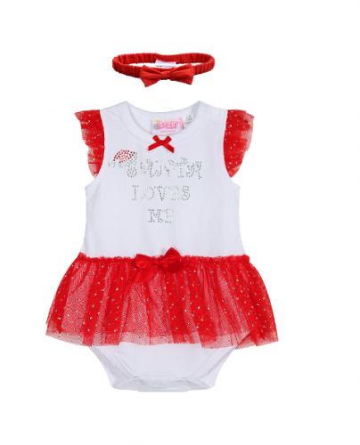 Santa Loves Me - Skirted Bodysuit & Headband - Baby Christmas Outfit