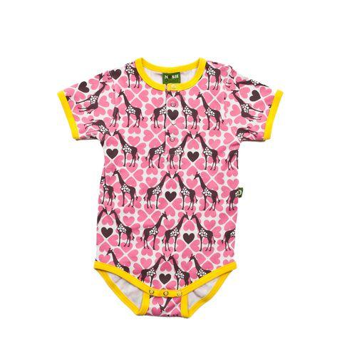 Nosh Organics - Giraffe Short Sleeve Onsie - 100% organic cotton