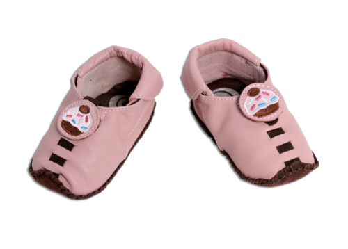 Shupeas - Light Pink Cupcake  Moccasin-Baby to Toddler Shoe - 4 Sizes in One Shoe