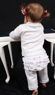 Frilly Tushies - Ruffled Leggings 3/4 - White