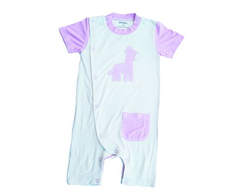 Silkberry Baby -Bamboo Shortsleeve Romper Cotton Candy Giraffe (only 3-6mths left)