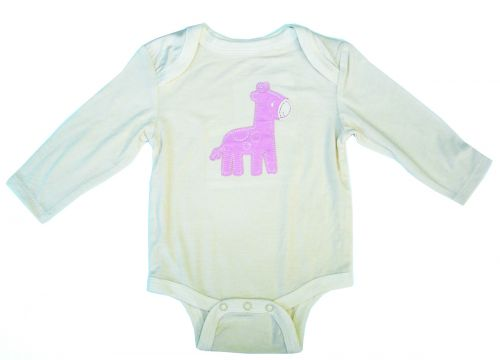 Silkberry Baby -Bamboo Longsleeve Onesie - Cotton Candy Giraffe (only 6-12mths left)