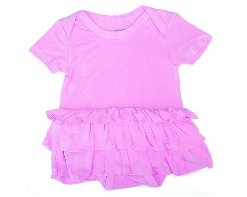 Silkberry Baby - Bamboo Ruffle Dress Onesie - Cotton Candy