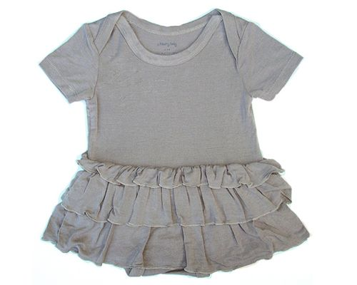 Silkberry Baby-Bamboo Ruffle Dress Onesie -Mocha
