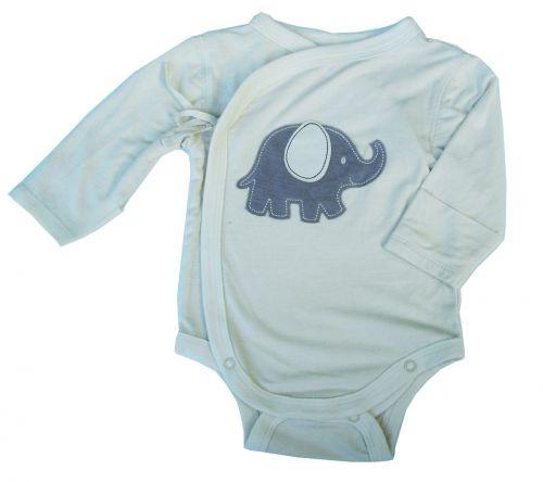 Silkberry Baby -Bamboo Kimono Onsie- Newborn - Mocha Elephant