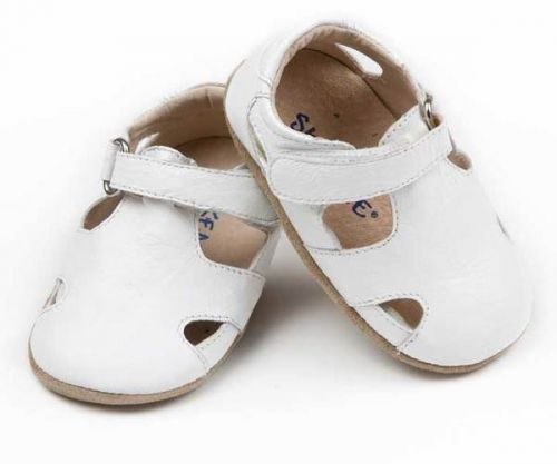 SKEANIE Sunday Sandals - Leather Soft Sole Baby Shoes - White (only large left)