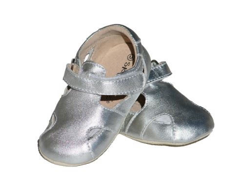 SKEANIE Sunday Sandals - Leather Soft Sole Baby Shoes - Silver (only small left)