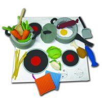 Stove Top,  Cooking Set and Food