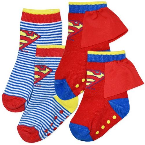 Superman Baby Socks - 2 Pair Pack (one pair comes with little cape)