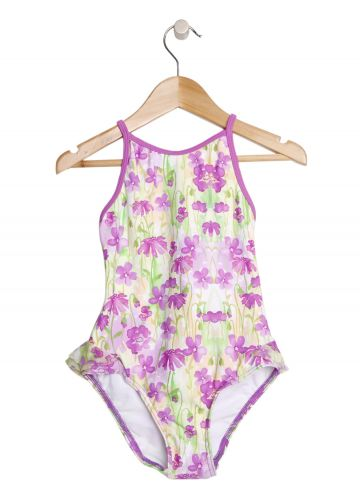 Cupid Girl Washed Floral Frill One Piece Swimmers- Lilac (size 3 to 5)