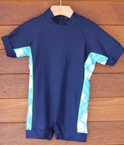 Wave Rat Hibiscus Blue Zootsuit/Rashie 50+ (Size 0&4)