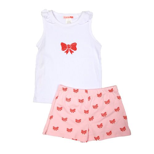 Spotty Bow - Girl Summer Sleeveless Pjs (Last Sizes Left 4 & 5)