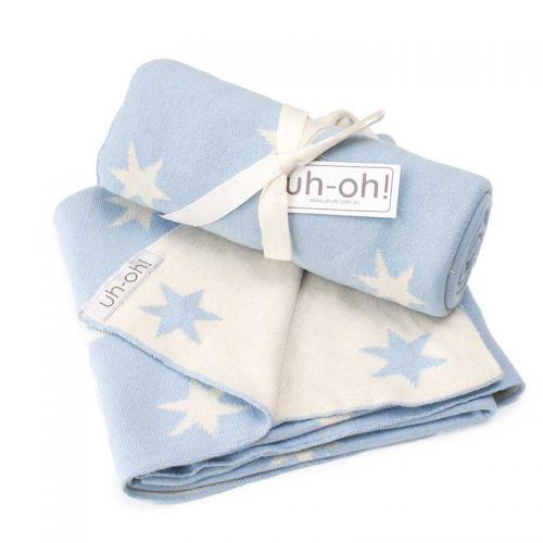 Reversible Baby Blue Cotton Blanket with Stars
