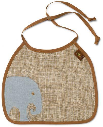 Zebi Baby Elephant Linen Bib