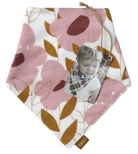 Zebi Baby Pink Floral Kerchief Bib