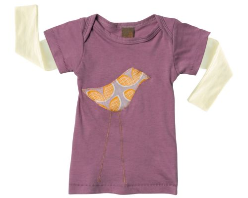 Zebi Baby Purple Bird Long Sleeve Tee - 100% organic cotton