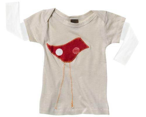 Zebi Baby Red Bird Long Sleeve Tee - 100% organic cotton