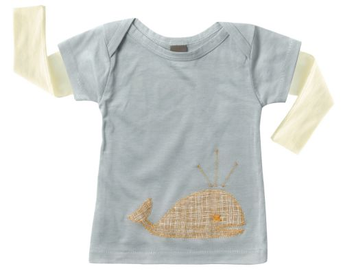 Zebi Baby Whale Long Sleeve Tee Blue Whale - 100% organic cotton