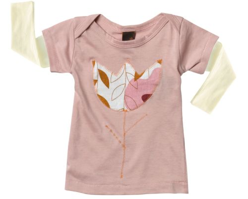 Zebi Baby Pink Tulip Long Sleeve Tee  - 100% organic cotton