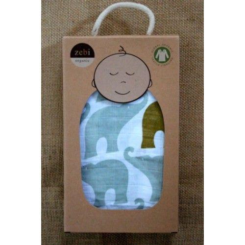 Zebi Baby Blue Elephant Organic Swaddle Blanket