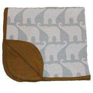 Zebi Baby Blue Elephant Organic Stroller Blanket