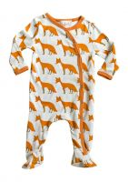 Zebi Baby Organic Footed Romper - Orange Fox