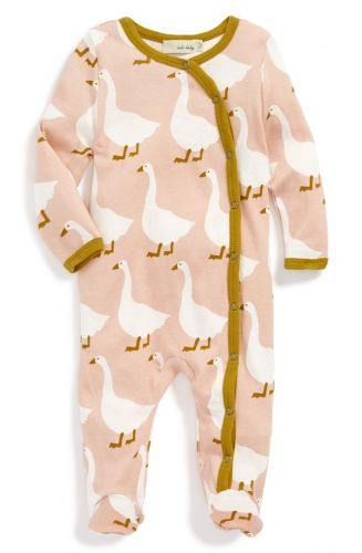 Zebi Baby Organic Footed Romper - Rose Goose (only 3-6mths left)