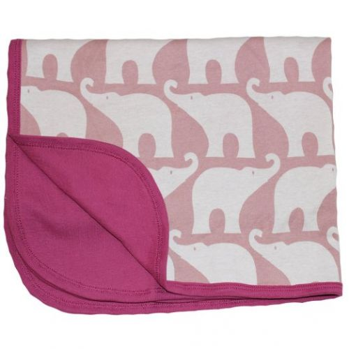 Zebi Baby Pink Elephant Organic Stroller Blanket